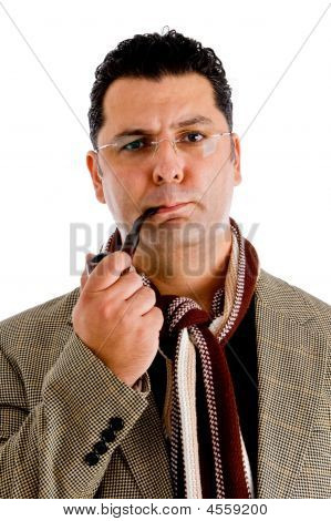 Adult Man In Coat Smoking Tobacco Pipe