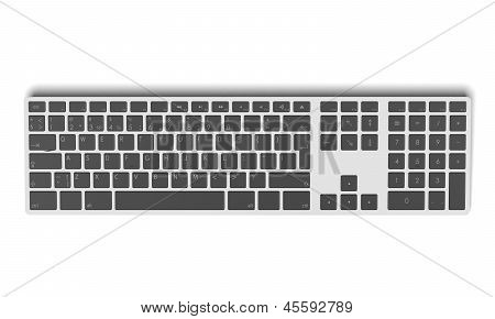Modern aluminum computer keyboard top view