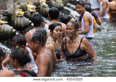 Purification In Sacred Holy Spring Water, Bali