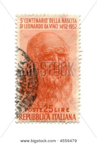 Postage Stamp From Italy Dated 1952 With Leonardo Da Vinci