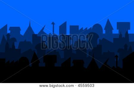 Blue Illustrated City Skyline