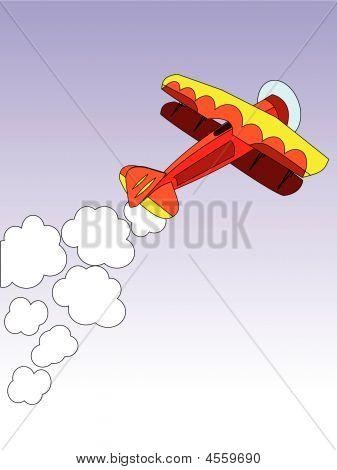 Biplane On Blue Sky