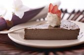 foto of irish moss  - Chocolate Mousse slice with vanilla icecream on top