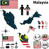 foto of ringgit  - Vector of Malaysia set with detailed country shape with region borders flags and icons - JPG