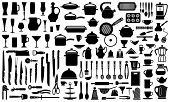 image of food preparation tools equipment  - Silhouettes of kitchen ware and utensils - JPG