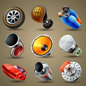foto of internal combustion  - detailed vector car parts and services icons - JPG