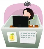stock photo of fail job  - Illustration of a cartoon office employee woman lifestyle working frustrated in a boring job in slump time and inside small confined open space cube setting - JPG