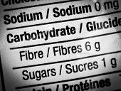 image of carbohydrate  - Fiber and carbohydrates on food packaging label - JPG