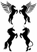 stock photo of winged-horse  - rearing up fantasy horses silhouettes  - JPG