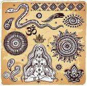 Постер, плакат: Набор декоративных элементов индийских и символы
