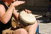 stock photo of bongo  - Drum circle at the Eugene Oregon Saturday Market - JPG