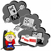 stock photo of bullying  - Cyber bullying cartoon with scared child mobile phone and PC - JPG
