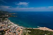 stock photo of sicily  - Panorama of the sicilian coastline near Cefalu Sicily Italy - JPG