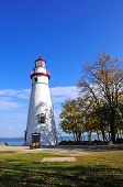 stock photo of marblehead  - The Marblehead Lighthouse on Lake Erie in fall - JPG