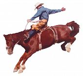 stock photo of bareback  - Vector illustration of cowboy riding horse at rodeo - JPG