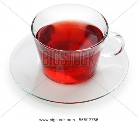a glass cup of hibiscus tea isolated on white background