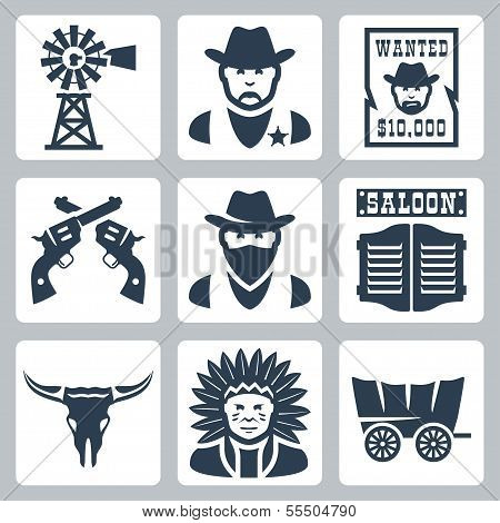 Conjunto de iconos occidental aislado del vector