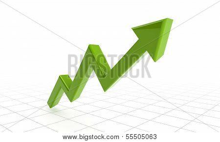 Green Success Arrow On Grids