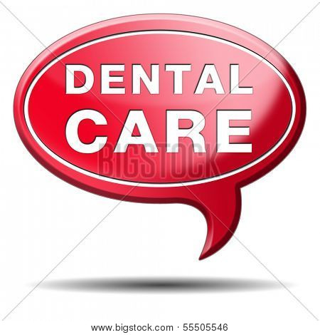 dental care oral hygiene or surgery for healthy teeth without caries but with a beautiful smile icon with text