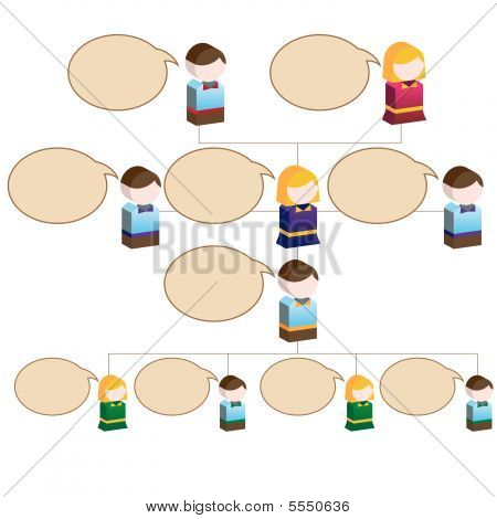 Organizational Children Speak Chart : Flowchart diagram with blank space for copy.