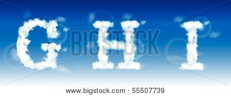 alphabet made of clouds