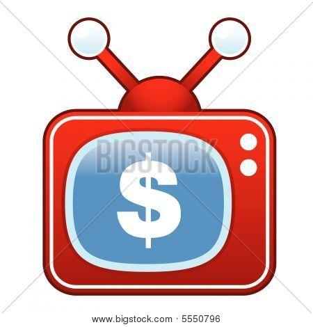 Dollar sign on retro TV button