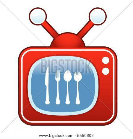Eating utensils on retro TV button