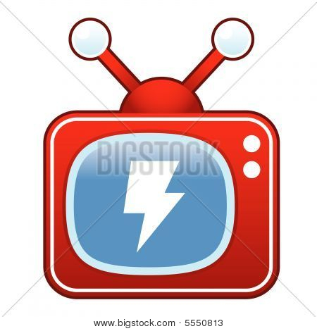 Rayo en el botón de TV retro