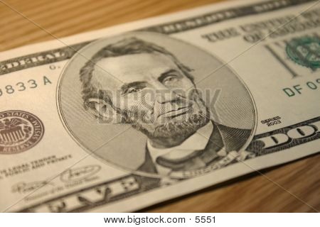 Close-up Of A Five Dollar Note With Lincoln. poster
