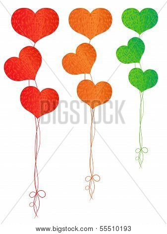 Colorful Balloons In The Shape Of Hearts