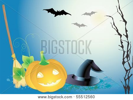 decorative halloween celebrate background with magic hat,pumpkin and broom