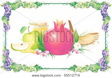 rosh hashana traditional holiday still life, apple, honey and shofar