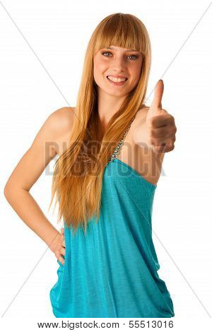 Beautiful Blonde Teenage Girl Showing Thumb Up As A Sign Of Allright Situation And Success