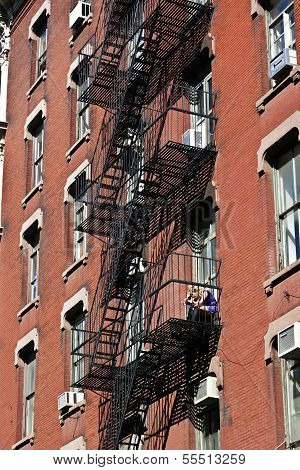 NEW YORK, USA - JUNE 2, 2012: fire escape at an old downtow house