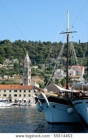 Hvar And Its Marine With Tourist Ships