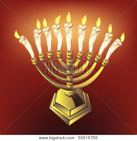 hanuka candles on red background