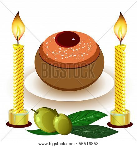 hannukah candles with traditional donuts