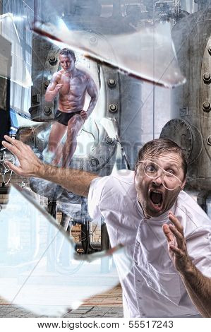 A Man Escapes From The Lab