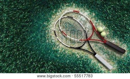 A shot of a tennis racquet and tennis balls on the tennis court