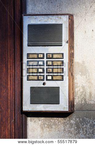 old intercom at the front door
