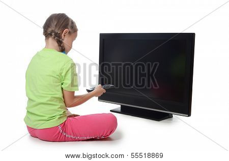 The little girl looks lsd tv isolated