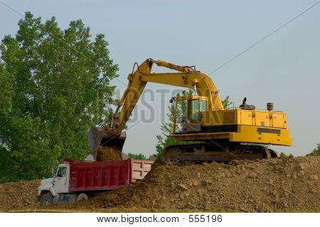Backhoe And Dump Truck
