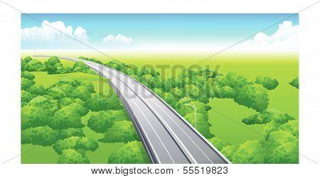 flyover over green landscape