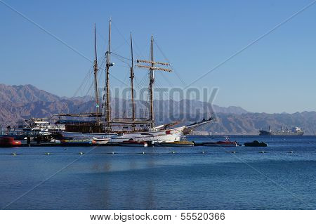 EILAT, ISRAEL - DECEMBER 15 - Yacht stands moored in marina of Eilat