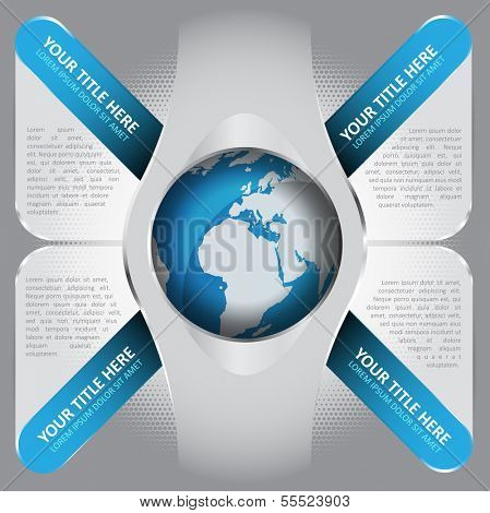Abstract vector background with four blue tabs and glass space for captions and texts with a globe in the middle. Can be used for brochures, posters, flyers, print or web.