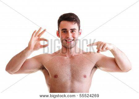 Man Holding a Pill