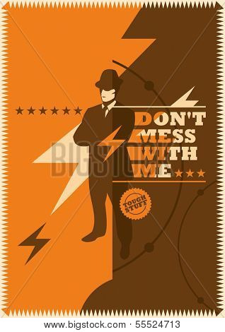 Retro poster with mobster. Vector illustration.