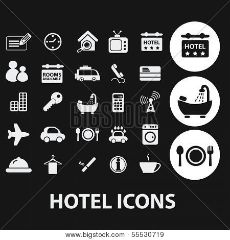 hotel, motel, travel icons set, vector