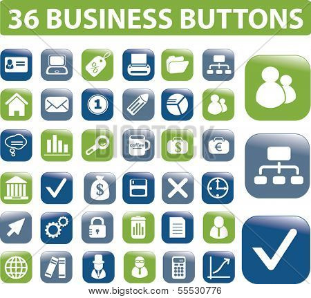 web business glossy buttons, vector