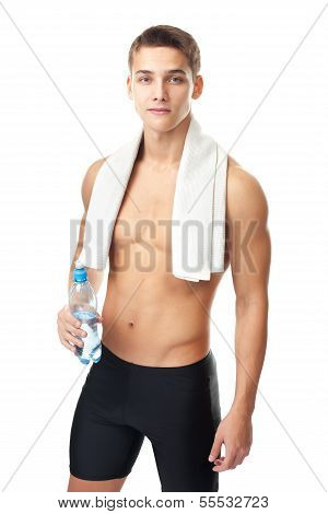 Seminude Athlete Man Holding A Water Bottle
